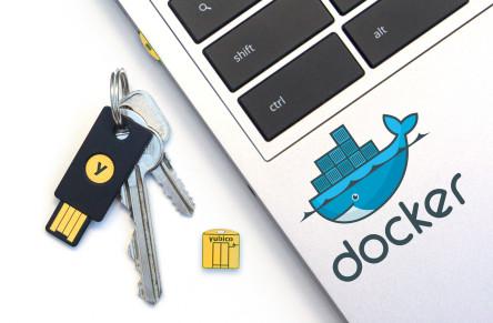 YubiKey 4/YubiKey 4 Nano and Docker sticker on laptop
