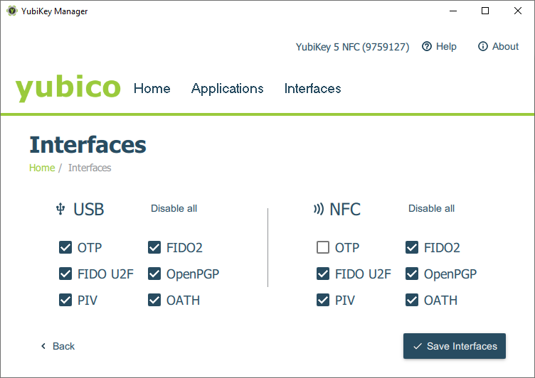 Yubico Interface options for USB and NFC