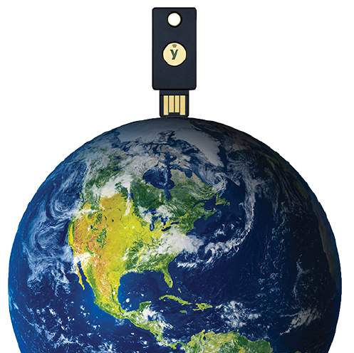 YubiKey on top of a globe