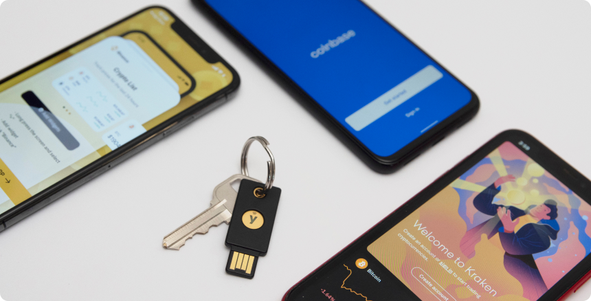 YubiKey in the middle of 3 phones