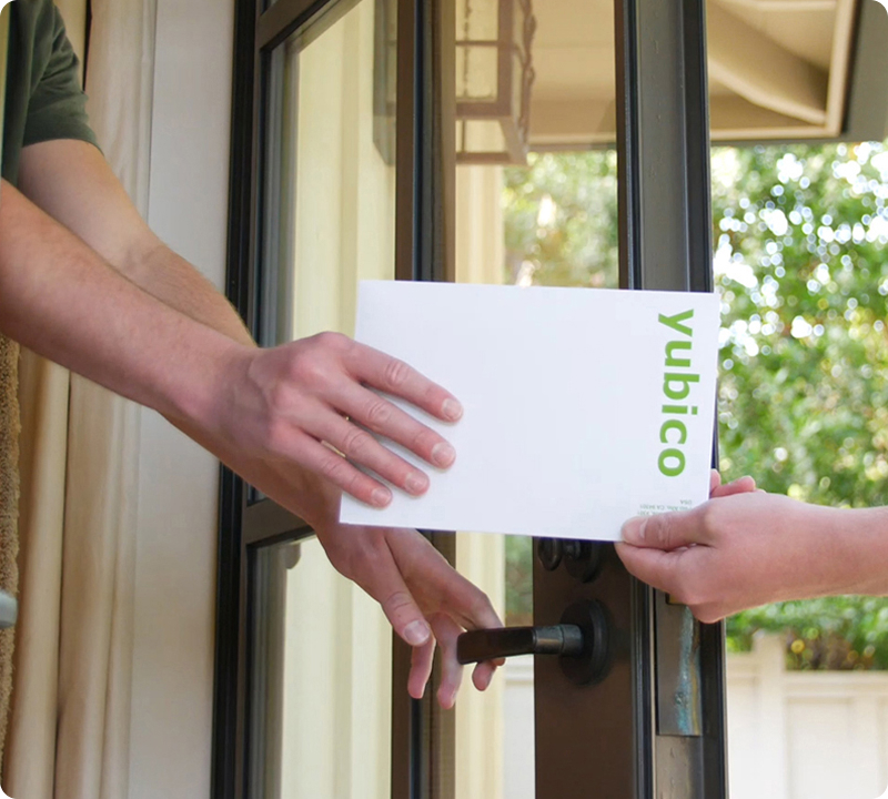 yubikeys being delivered in an envelope
